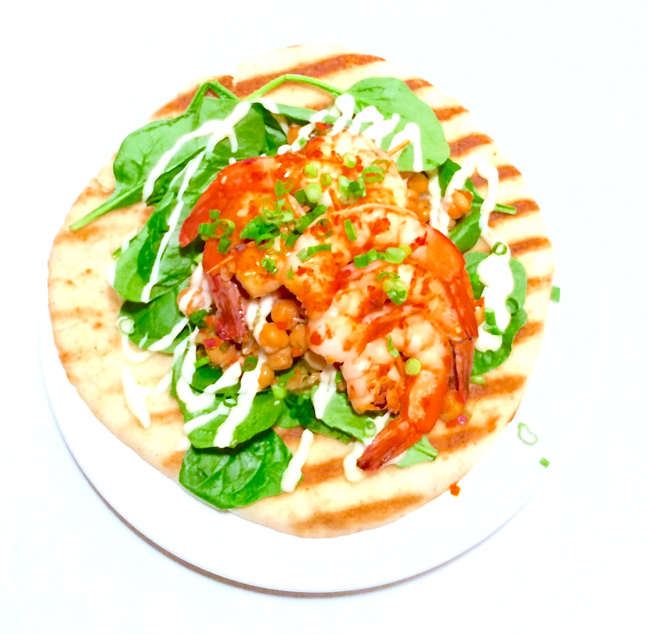 Shrimp Skewers & Grilled Flat Bread, Orange Basil chili sauce, Chick Pea Salad