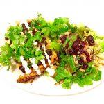 Chicken green chili tortilla pie with red molè, cilantro and salad